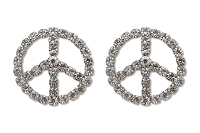 Sassy Clips Silver Peace Sign with Clear Crystal Rhinestones